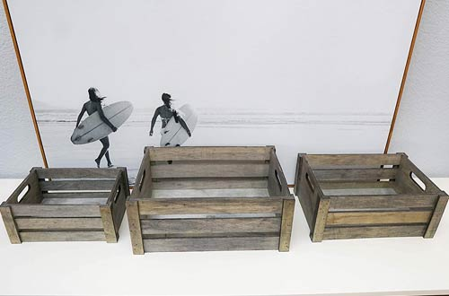 Admired By Nature Rectangle Wood Crates for Storage