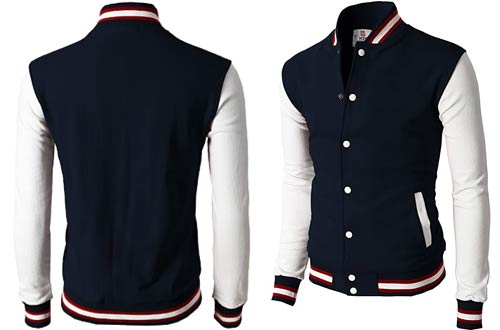 H2H Men's Casual Slim Fit Varsity Baseball Jackets Bomber Cotton Lightweight Coats