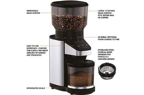 Professional Coffee Bean Grinder Machine Stainless Grinder Machine Easy Cleaning Easy to-Understand Operation for Coffee Beans Grinder Spices Black