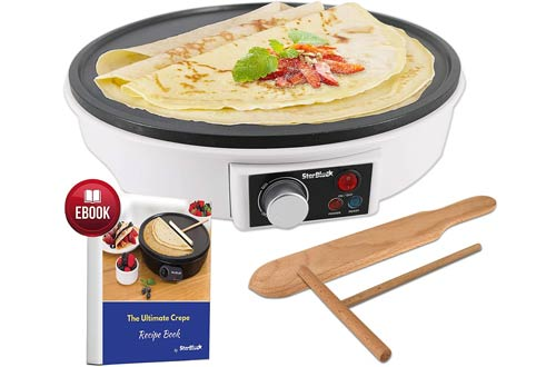 StarBlue Portable Electric Crepe Makers with Recipes e-book and Wooden Spatula