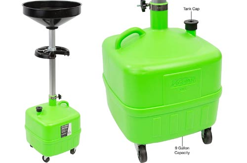 OEMTOOLS 87032 9 Gallon Portable Upright Lift Changing Car and Truck Motor Oil Adjustable Height Drain Valve and Tool Tray