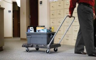 Rubbermaid CommercialTriple Trolley Foldable Hand Truck - Folding Cart with Wheels