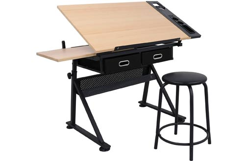 ZENY Height Adjustable Drafting Draft Desk - Art Drawing Tables