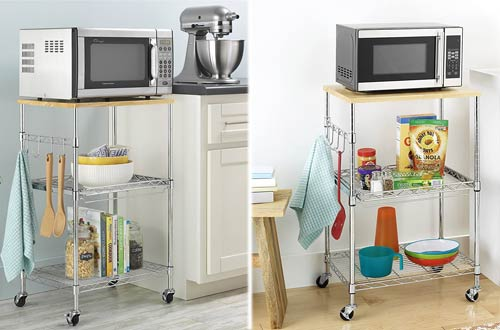 Whitmor Supreme Rolling Microwave Carts with Locking Wheels