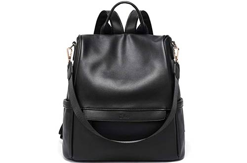 CLUCI Large Black Leather Backpack Purse