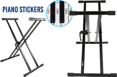 QMG Piano Keyboard Stand and Stickers -Stand for Electric Piano Keyboard