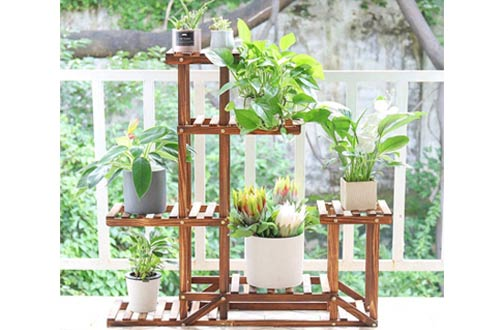 Unho Outdoor Plant Stand for Multiple Plant - Wooden Plant Shelves