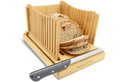 MAGIGO Foldable Homemade Bread Slicers with Crumb Catcher Tray