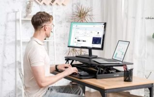 Fezibo Adjustable Standing Desk Converters - Ergonomic Tabletop Workstation Riser