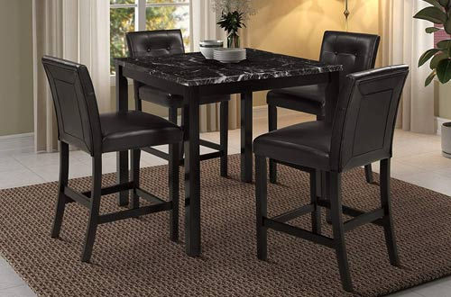 Faux Marble Top Dining Table Set for 5 Pieces