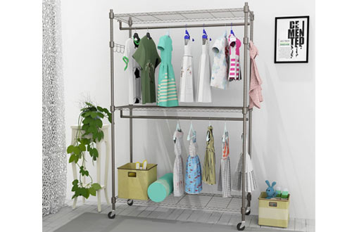 Kemanner Rolling Heavy Duty Garment Rack on Wheels