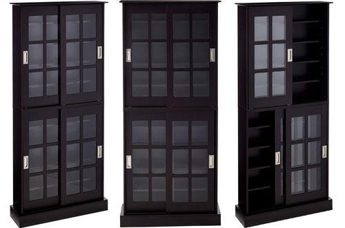 Atlantic Windowpane Media Storage Cabinets withSliding Doors