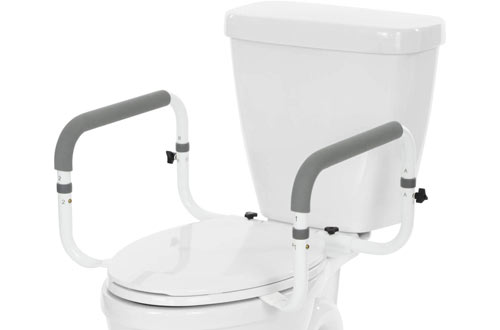Vive Toilet Safety Rails with Arms - Adjustable Toilet Grab Bars